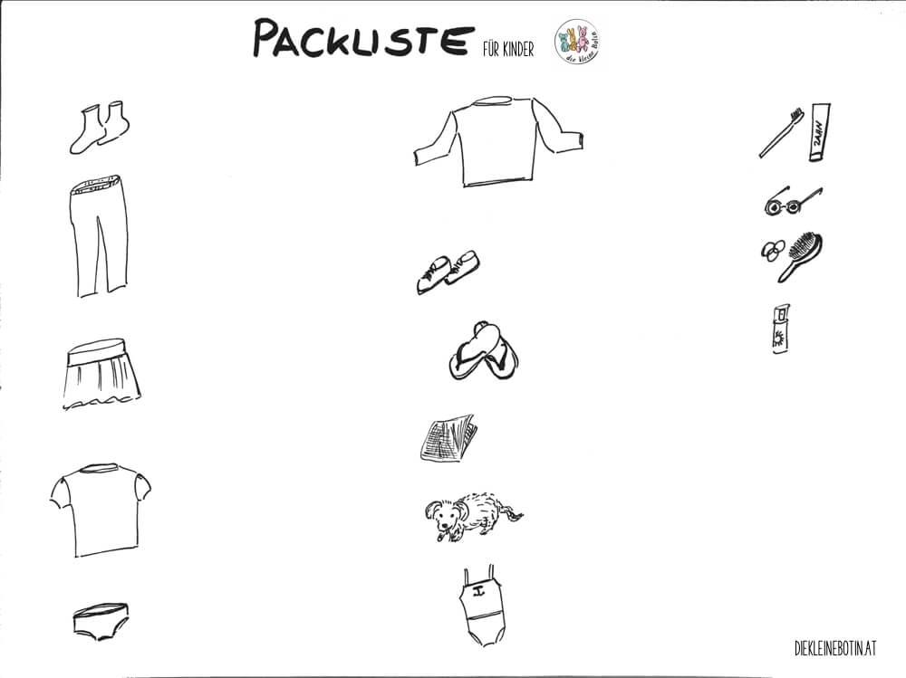 Kofferpacken mit Kindern. Montessoriinsprierte Packliste für Kinder ...