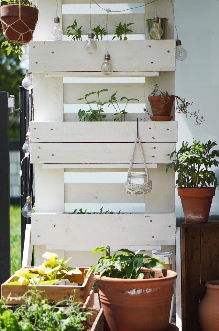 Palette als Pflanzenständer für Balkon oder Terrasse
